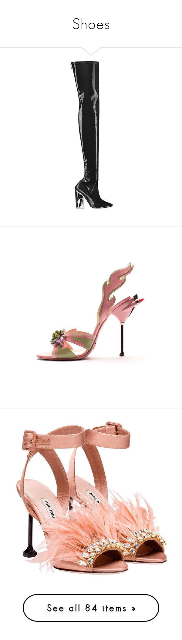 """Shoes"" by luisabad67 ❤ liked on Polyvore featuring shoes, boots, heels, sandals, miu miu, feather heeled sandals, heeled sandals, embellished heeled sandals, embellished shoes and embellished sandals"