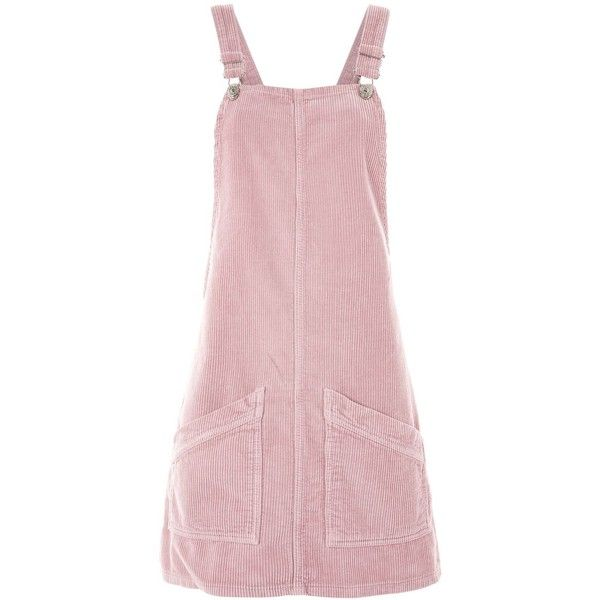 TopShop Moto Cord Pinafore Dress ($75) ❤ liked on Polyvore featuring dresses, rose, rosette dress, crop dress, corduroy pinafore dress, pink rosette dress and pinny dress