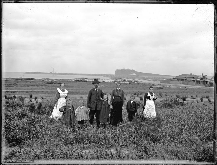 Mrs and Mr A Graham's family group, Stockton, NSW, 24 June 1902