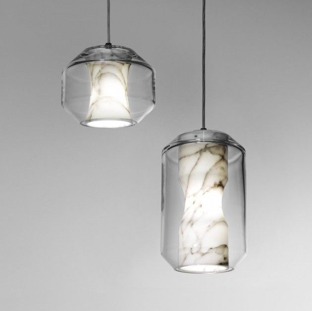 Lee Broom has designed Chamber, a light made from Carrara marble and crystal, as part of his Nouveau Rebel collection.