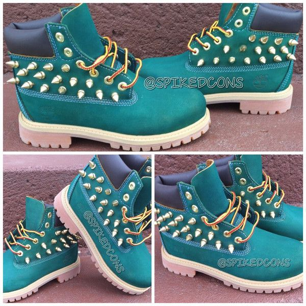 Custom Green Timberlands ($95) ❤ liked on Polyvore featuring shoes, boots, timberlands, grey, spike shoes, spiked shoes, grey shoes, green shoes and gray shoes