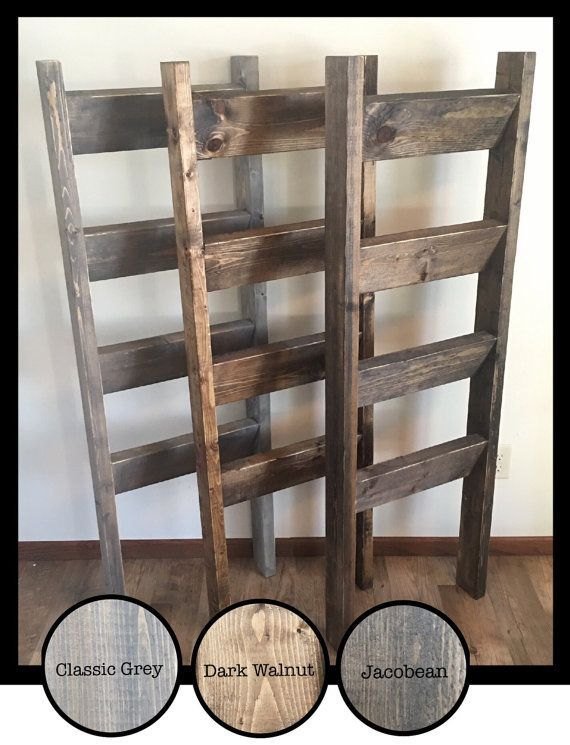 This 5 foot ladder is a great way to organize blankets, towels, & more in a warm, welcoming, and chic way. Choose your stain color and find the perfect match for your home! Ready to ship in just 3-5 business days!!  • 60 tall (5ft) • 17 interior opening • 20 overall width • 4 rungs Ladder has a distressed look, with stained areas intentionally lighter/darker throughout, along with visible knots and other wood characteristics. A worn look is given to the piece by lightly rounding out ...