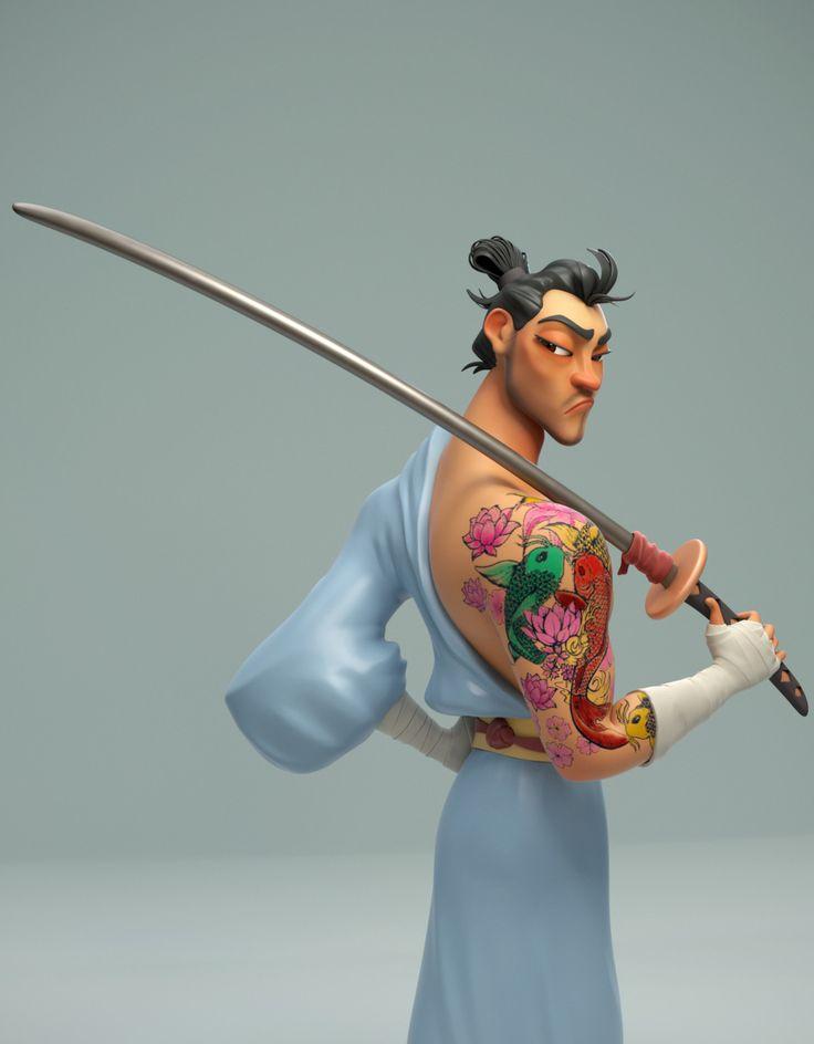 The Samurai, Taís Kenj on ArtStation at https://www.artstation.com/artwork/3keVv