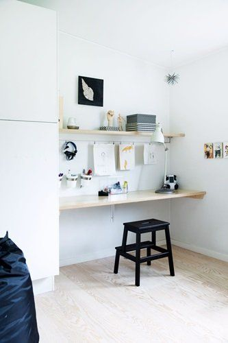 Study nook with IKEA stool - handy to have near the kitchen if I put high shelving up.
