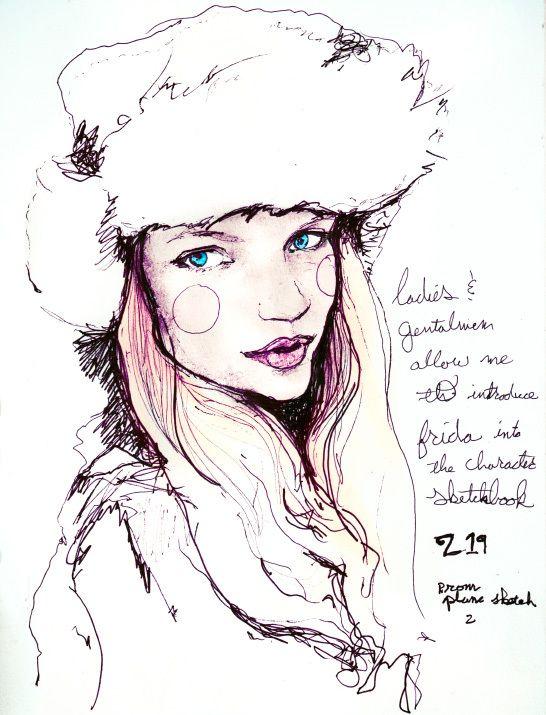 Artist Danny Roberts character Sketchbook plane drawing 219 of IMG Fashion Model Frida Gustavsson igorandandre.blogspot.com