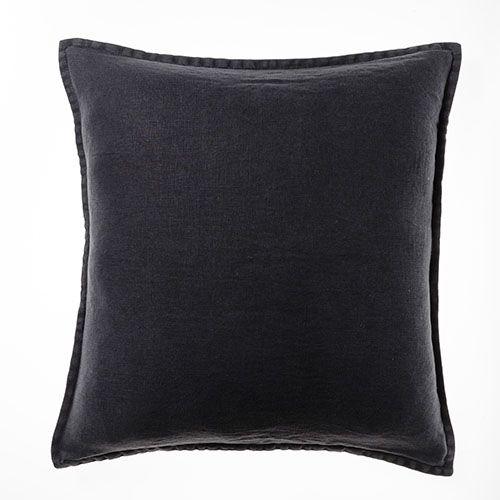 Belgian Vintage Washed Linen Charcoal Cushion
