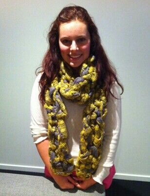 Mustard and grey mesh arm knitted scarf. Available to order from my Facebook page Crochet by Sparkle $30. Lx