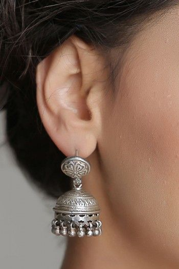 Beautiful Antique Silver Jhumka Earrings With Carving