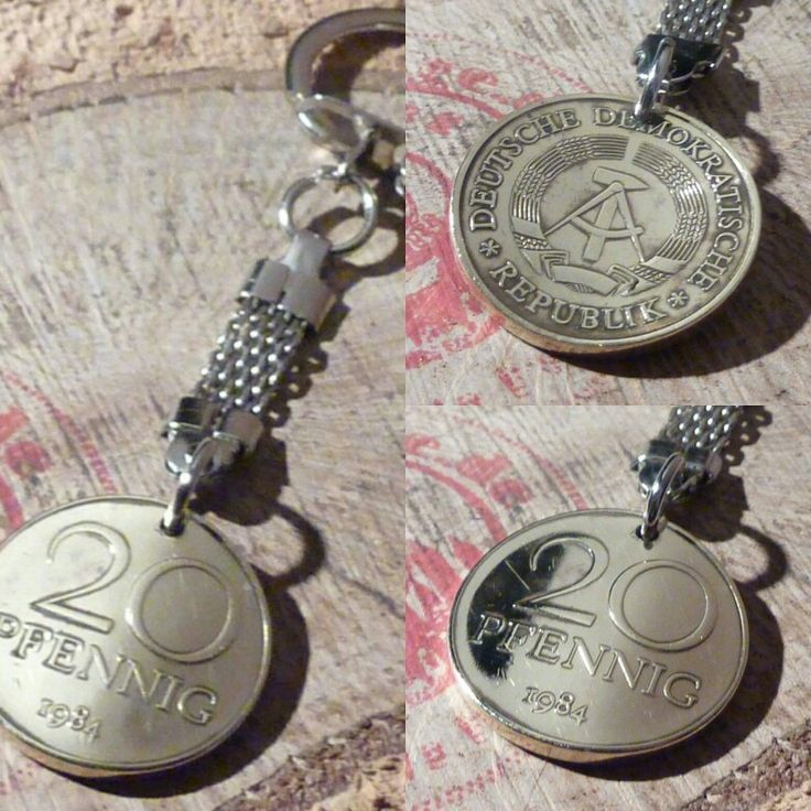 Ostalgie! Einzigartige Schlüsselanhänger, aus hartvergoldeter 20 DDR-PFENNIGEN gibt es bei www.muenzenringe.de