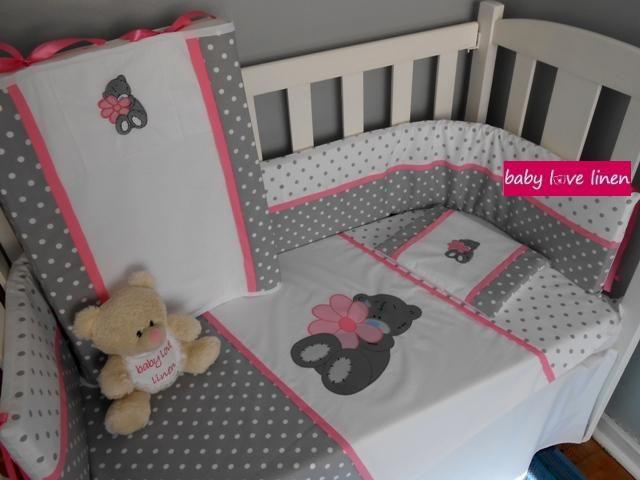Large hand-applique Tatty Teddy baby linen set.