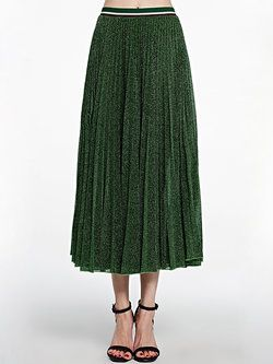 Green Elegant Plain Pleated A-line Midi Skirt