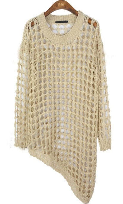 {open weave asymmetrical pullover} toss on over tank + leggings and go!