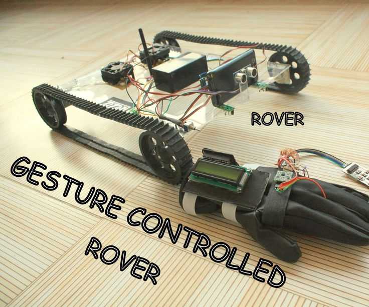 What is it capable of ? 1. It can be controlled using gestures. 2. It can Send temperature , object distance , battery level , etc. values to the glove ( LCD ). 3. Can run on 45+ degree angle. 4. Tx Rx pair on both rover and Glove ( for bi-directional data transfer ). Why to use joysticks to control you robot when you can control it by the gestures of your hand ! This robotic Rover works on 433MHz Band RF Modules (ASK). The remote is modified into a GLOVE which is equipped with an…