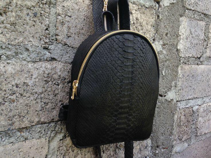 Black leather backpack. Python leather Backpack. Designer handmade leather handbag. Handmade Fashionable  Striped Backpack. ブラックレザーのバックパック by StudioANTU on Etsy