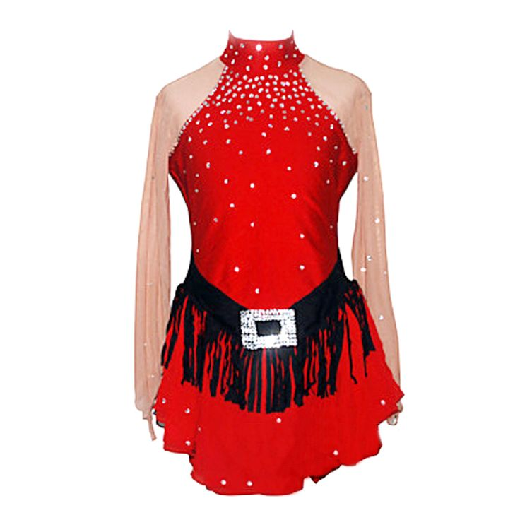Customized Costume Ice Figure Skating Gymnastics Dress Competition Adult Child Girl Skirt Performance Red Rhinestone Black Waist #Affiliate