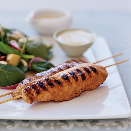 Yogurt-and-Spice Grilled Chicken Skewers Marinate the chicken breast strips in a spiced yogurt mixture, grill and serve with a sweet mustard sauce for a high-flavor, good-for-your-heart main dish.