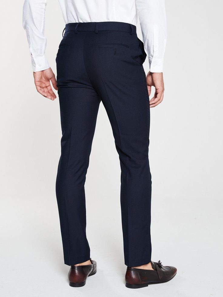 V By Very Pv Stretch Slim Suit Trousers – Navy, Navy, Size 30, Length Regular, Men – Navy – 30, Length Regular
