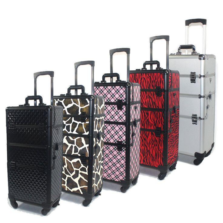 Cosmacase 2in1 Pro 4 Wheel Rolling Aluminum Lockable Makeup Cosmetic Train Case