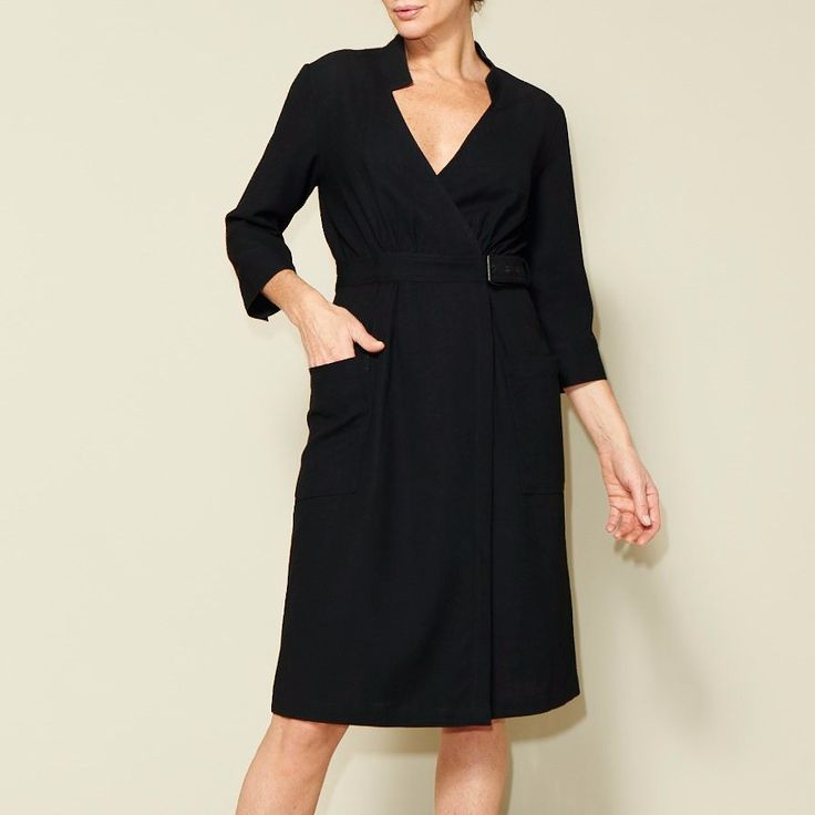 Add an interesting and flattering wrap dress to your handmade wardrobe! Our wrap dress has a relaxed fit with gathers in the front and the back of the bodice and skirt. The sleeves are mid-length w…