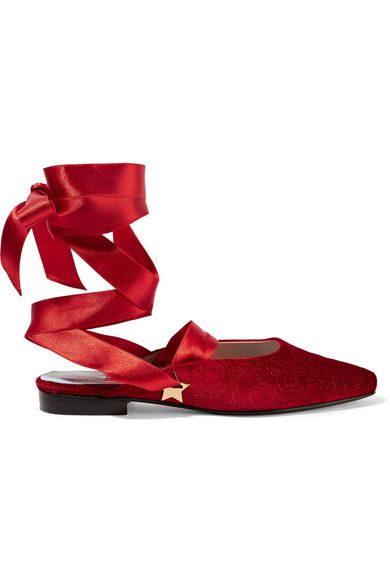 Heel measures approximately 30mm/ 1 inch Red velvet Ties at ankle As seen in The EDIT magazine