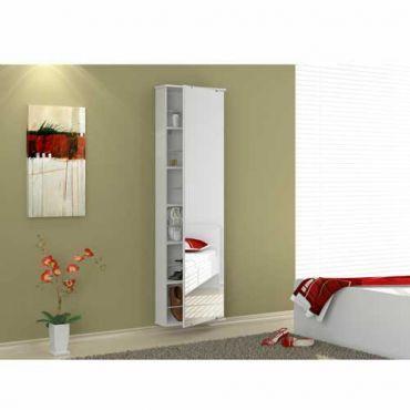 Sapateira Multiuso Itabuna com 1 Porta com Epelho e 6 Prateleiras - Branco - Politorno Móveis