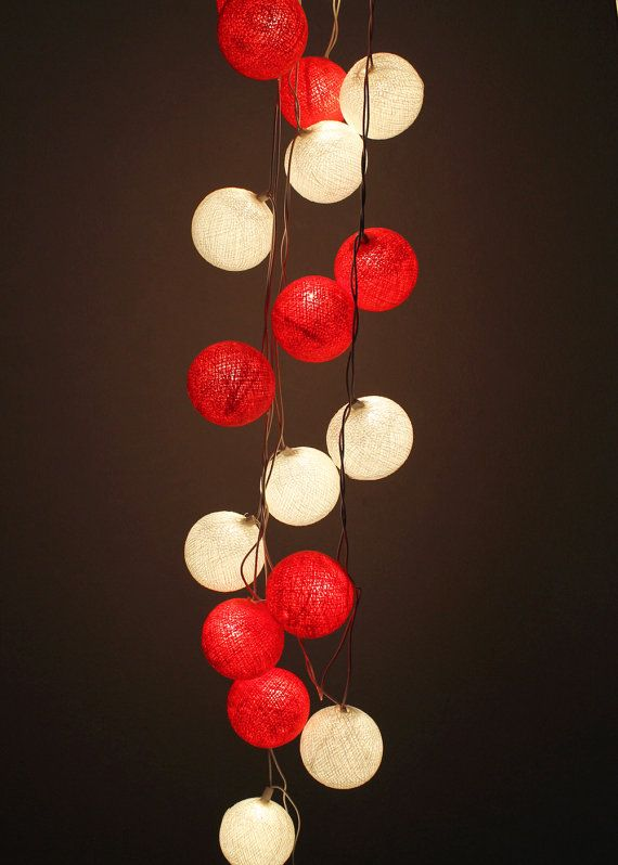 White & Red Cotton Ball String Light Wedding Fairy Light Bedroom  Party Decor Holiday Lanterns on Etsy, $12.99