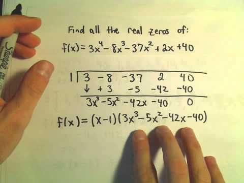 finding the zeros of a polynomial, Rational Roots Test, synthetic division