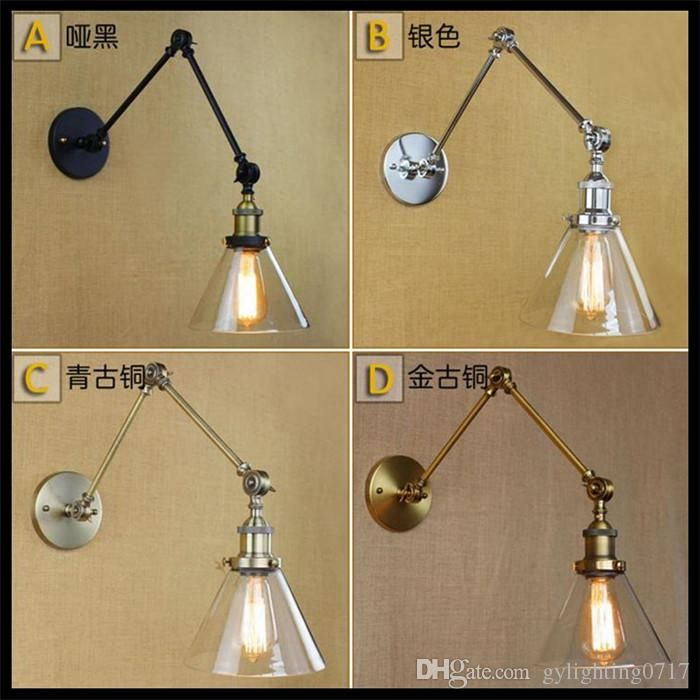2016 Ac 110v 220v Funnel Filer Clear Glass Lampshade Modern Double Swing  Arms Wall Lamp Vintage