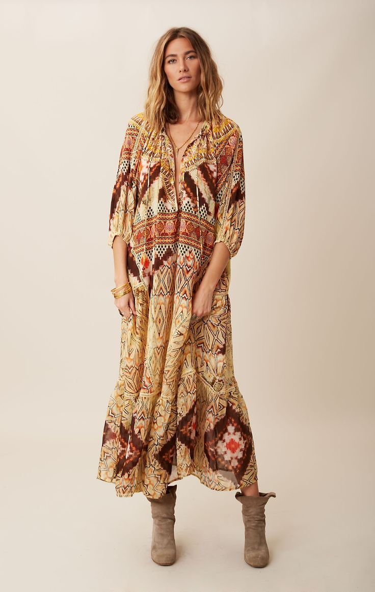 peasant silk maxi dress // Camilla #planetblue #boho