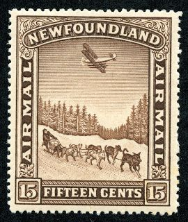 "Newfoundland 1931 Scott C6 15c brown ""Dog Sled and Airplane"""