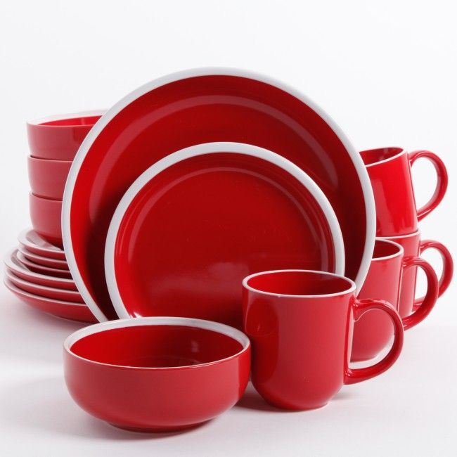 Gibson Home Orofino 16 Piece Dinnerware Set, Red