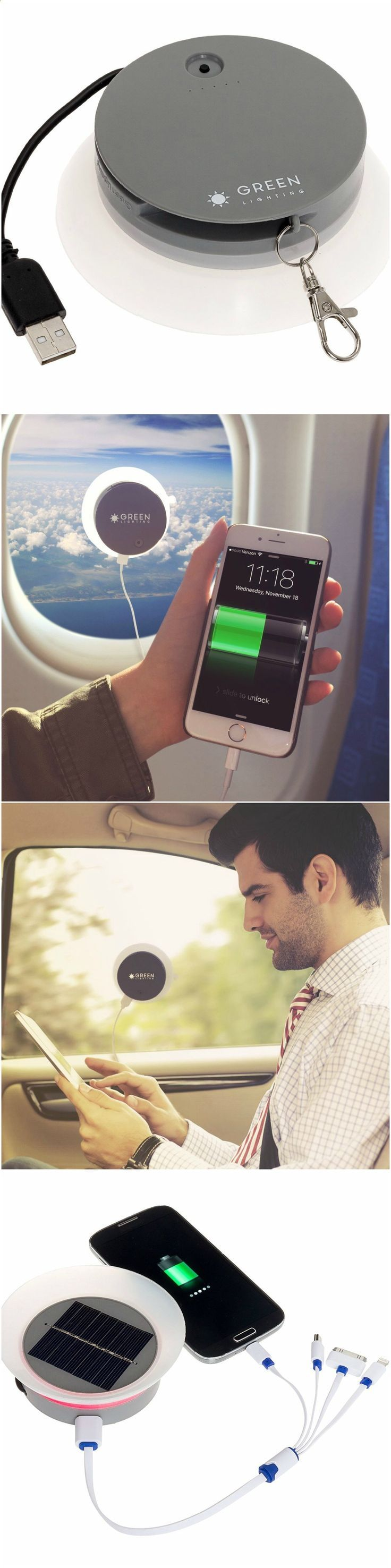 GreenLighting Solar Phone Charger - 2000mAh Window Cling Power Bank #cool #technology #gadgets