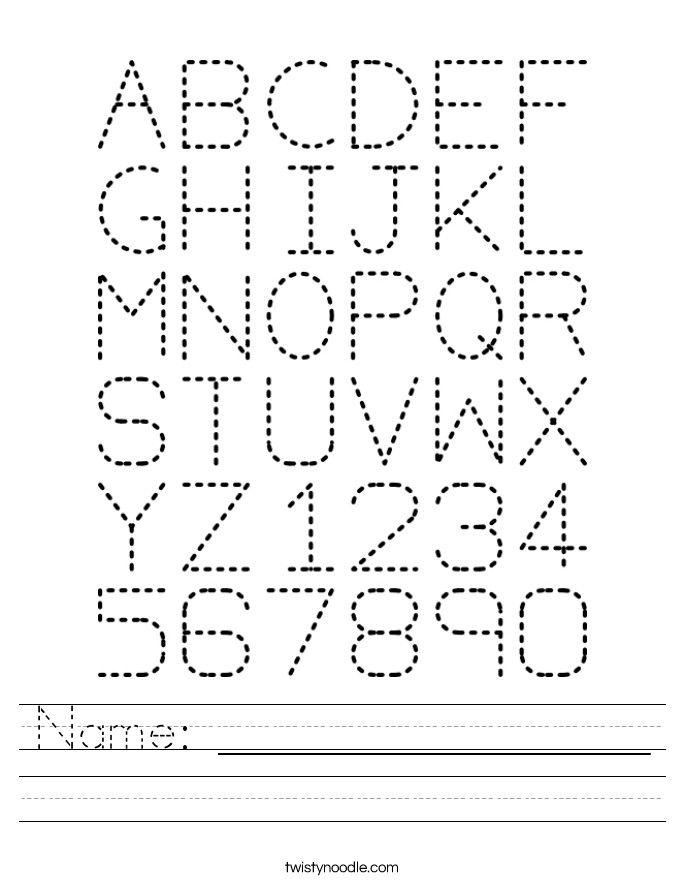 Name Worksheet Twisty Noodle Tracing Worksheets Preschool Abc Worksheets Alphabet Worksheets Printable preschool name worksheets
