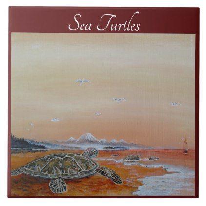Sea Turtle Tile. Sea Turtles home decor. Tile - home gifts ideas decor special unique custom individual customized individualized