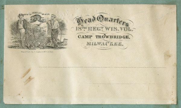 Head Quarters 18th Regiment Wisconsin Volunteers, Camp Trowbridge, Milwaukee | Print | Wisconsin Historical Society