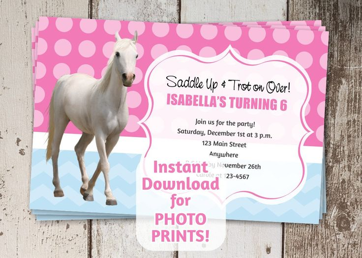 24 best Kids Birthday Invitations images – Horse Party Invitations