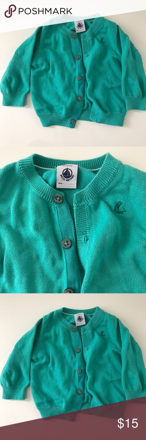 Petit Bateau teal cardigan Petit Bateau teal cardigan with buttons. Size 6 months. Gently used but in great condition. No stains. Petit Bateau Shirts & Tops Sweaters