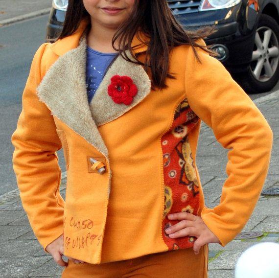 Maizgelb Mädchen Blazer-Jacke mit Fell von FroilanaBlue auf Etsy