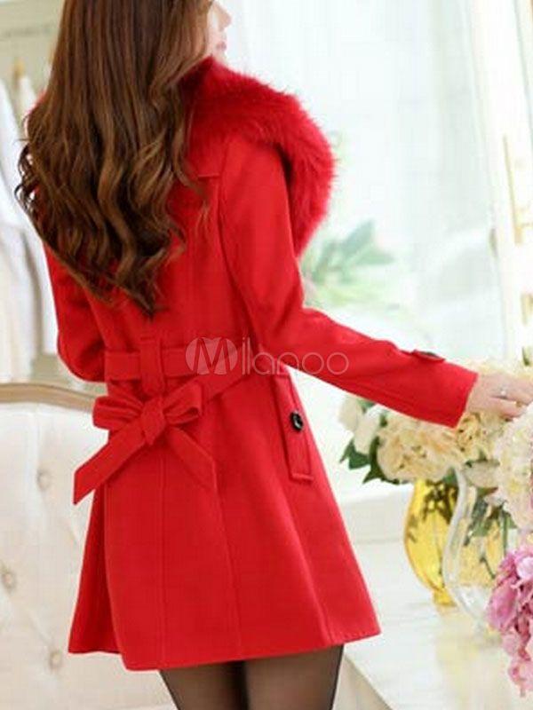 Women s Black Peacoat Faux Fur Pillow Collar Plain Woolen Winter Coat  Faux f431ea5f65