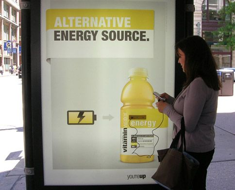 Bus-stop ads for Vitaminwater in Boston, Chicago, New York, and Los Angeles have been outfitted this summer with USB ports, so you can charge your phone or iPad.