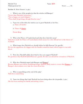 This test assesses students' knowledge of Macbeth's plot, characterization, themes, symbols, and important quotes. The test consists of short and long answer questions, worth 50 points. Includes a test key. For full unit materials see my Macbeth Full Unit Bundle, which contains notes and homework assignments for