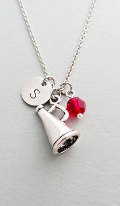 Cheerleading Megaphone Initial Necklace Personalized Hand Stamped - with Silver Megaphone Charm and Custom Bead #ad