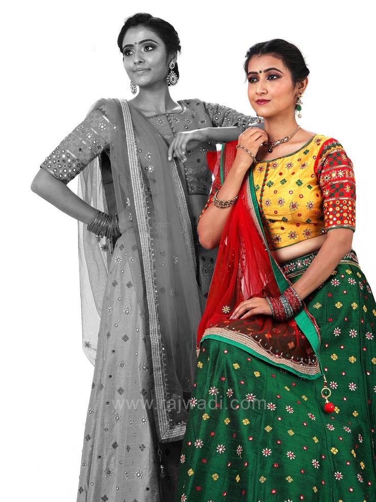 Raw Silk Lehenga with Choli and Dupatta #rajwadi #cholisuit #readycholi #lehengas #embroidered #FeelRoyal #bridal #colorful