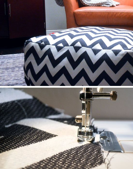 DIY Chevron Pouf | Click Pic for 26 DIY Living Room Decor on a Budget | DIY Living Room Decorating Ideas