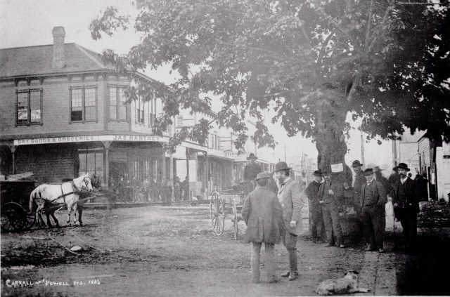 An early photo of Maple Street Square in Gastown, circa 1886