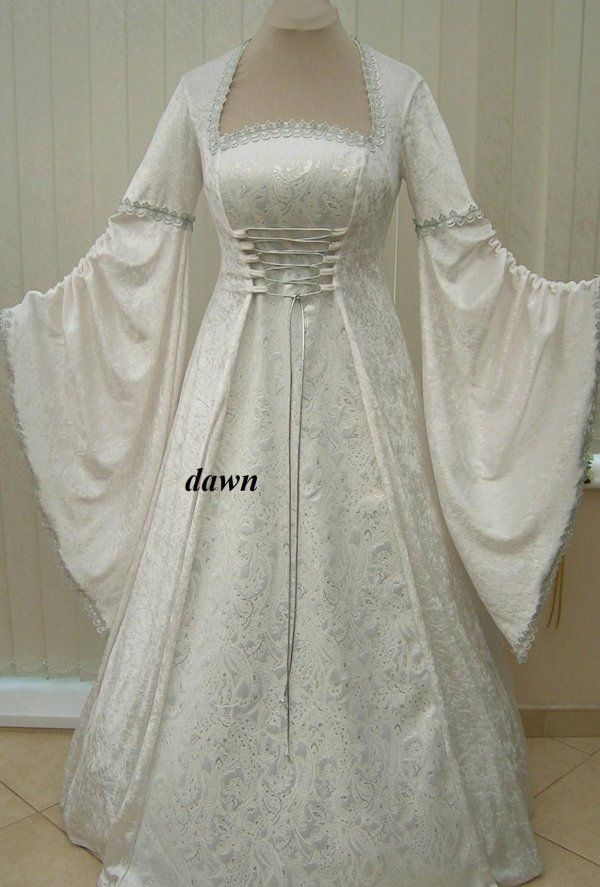 Ivory and Silver Medieval Renaissance Wedding Dress, Dawns Medieval Dresses
