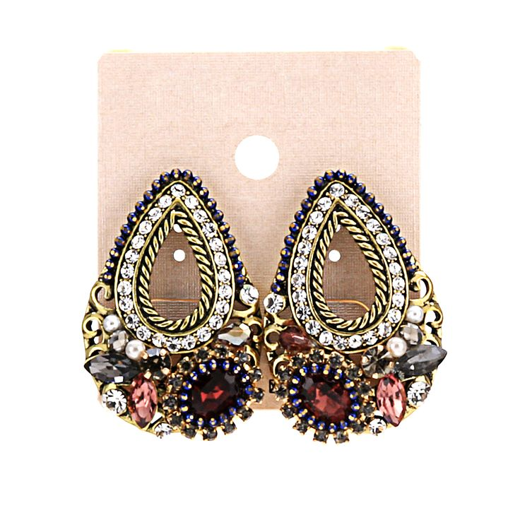 Hot-Charm-Jewelry-Colorful-Crystal-Rhinestone-Teardrop-Ear-Dangle-Stud-Earrings