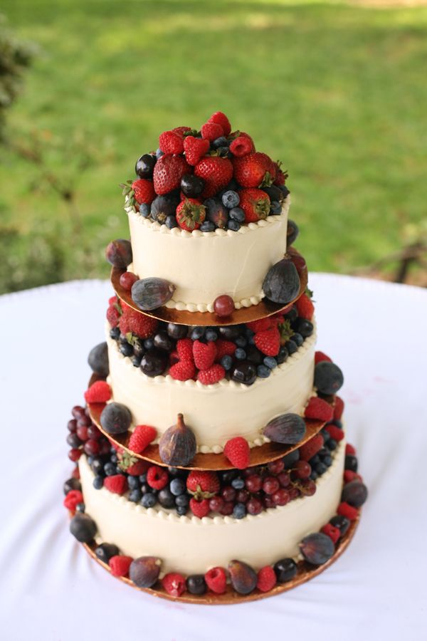 #WeddingCakes - A 'healthy' Wedding Cake heaped with fresh berries.