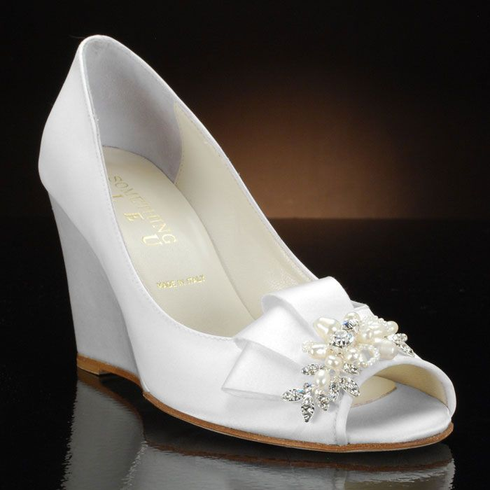 31 best wedge wedding shoes images on pinterest wedge wedding white wedge with peep toe wedding shoes by my glass slipper junglespirit Image collections