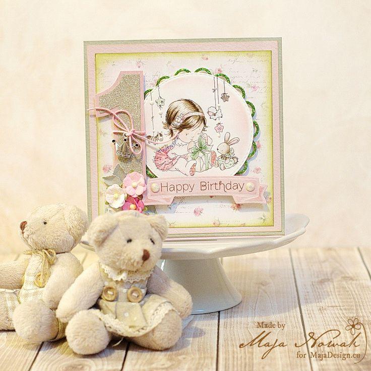 CraftHobby Oliwiaen: Girl 1st Birthday card w/ handcoloured stamp. Kartka na roczek dziewczynki z ręcznie kolorowanym stemplem